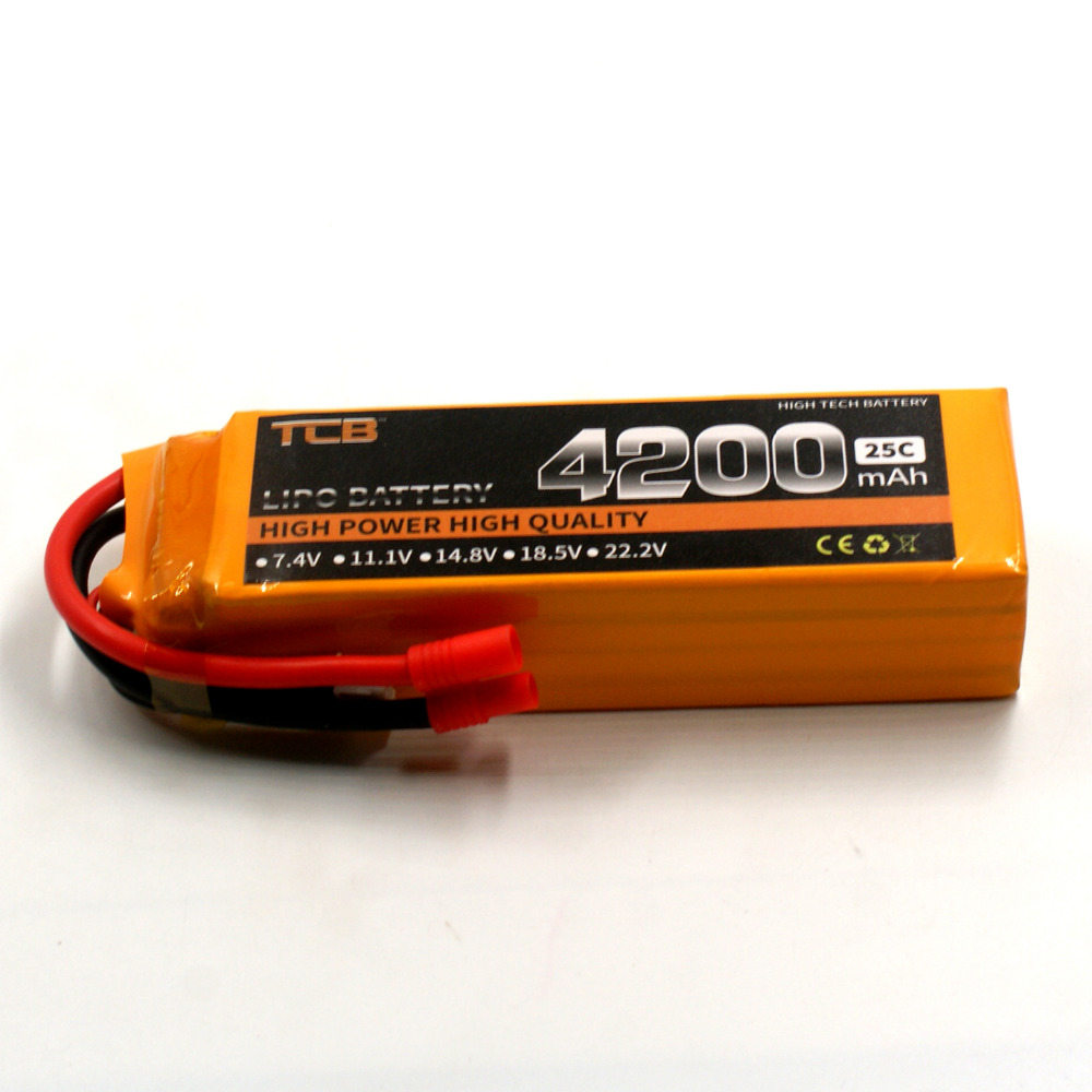 TCB 14.8v 4200mAh 25C 4s RC lipo battery FOR RC model airplane drone aircraft car boat high-rate cell batteria 4s rc model 2s 3s 4s detect lipo battery low voltage alarm buzzer