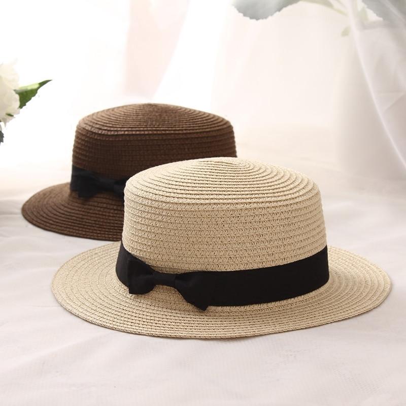 2019 Hot Parent-child Sun Hat Cute Children Sun Hats Bow Hand Made Women Straw Cap Beach Big Brim Hat Casual Glris Summer Cap