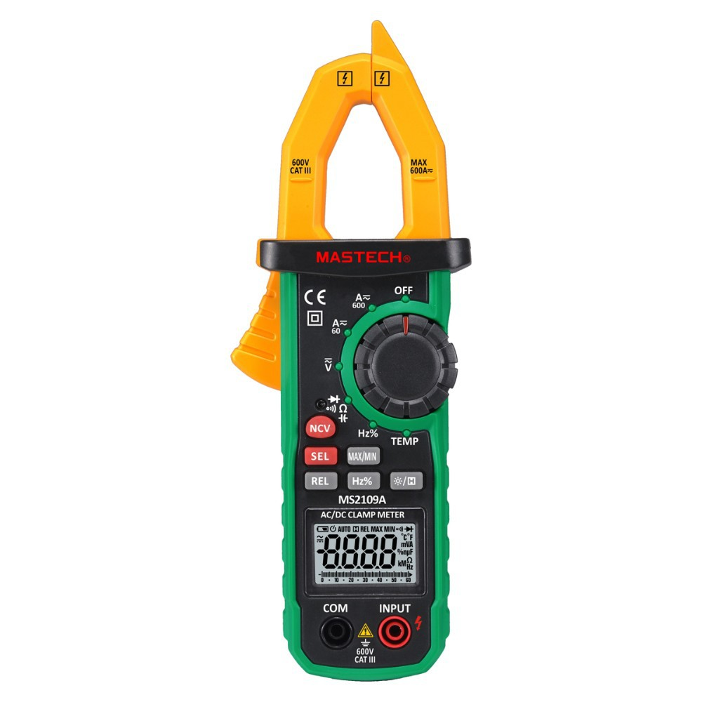 Mastech MS2109A True RMS Auto Range Digital AC DC Clamp Meter 600A Multimeter Volt Amp Ohm HZ Temp Capacitance Tester NCV Test uni t ut216a auto range multimeter mini true rms digital clamp meter w ncv capacitance ac dc voltage current tongs ohm tester