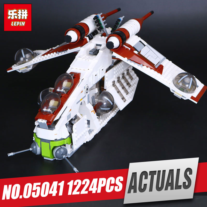 New LEPIN 05041 1175Pcs Stars Republic set Gunship Model Educational Building Kits Blocks Bricks Compatible War Toys Gift 75021 new lepin 16008 cinderella princess castle city model building block kid educational toys for children gift compatible 71040