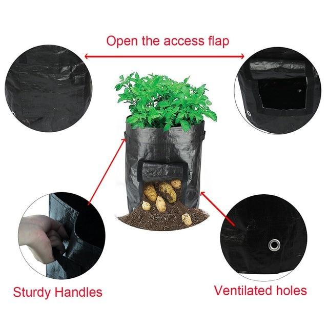 Reusable PE Woven Potato Cultivation Planting Garden Pots Planters Vegetable Planting Grow Bags Farm Greenhouse Seedlings Bags 3