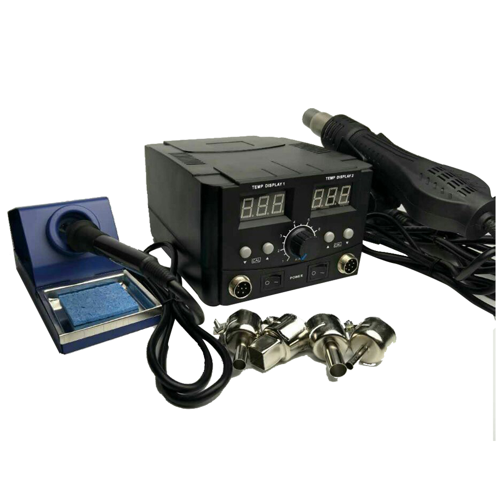 JFBL Hot 2in1 Soldering Iron Solder Rework Station Hot Air Gun Digital SMD Desoldering