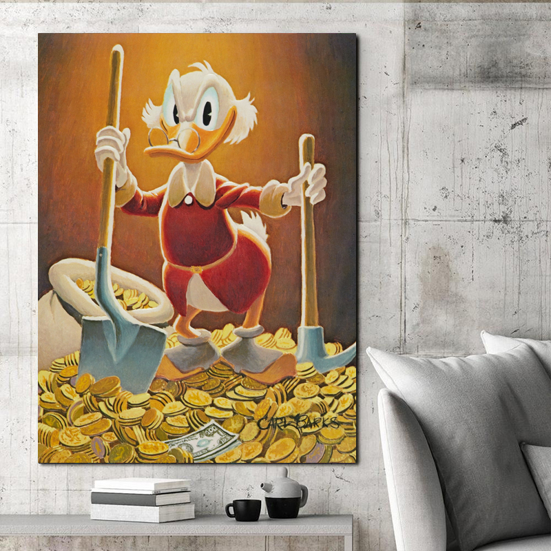 Scrooge McDuck Vs Shovel Knight Canvas Painting Print Living Room Home Decor Modern Wall Art Oil Painting Poster Salon Pictures in Painting Calligraphy from Home Garden