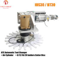 IOS30/BT30 ATC Automatic Tool Changer + Air Cylinder + 8/12/16/20 holders Cutter Disc for NEMA34 86mm CNC Spindle Motor Router