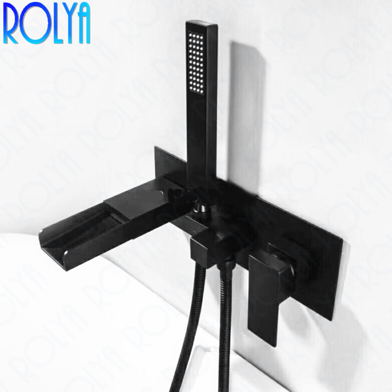 Rolya Cubix Waterfall Bathtub Faucet Wall Mounted Chrome Solid Brass Bath Shower Mixer Taps