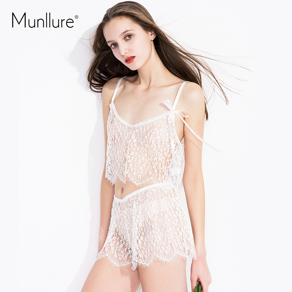 Munllure 2019 New Sexy Hollow Out Floral   Pajamas     Set   Fashion Lace Comfortable Sleepwear Three-Piece Suit Black White