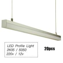 20pcs 2835 / 5050 Tube LED Pendant Lamp Profile Striplight 144leds /120leds 1m Modern Design Work Room Restaurant Decoration