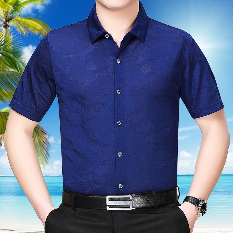 050401 Summer New Luxury Leisure Silk Short Sleeve Shirt Men's Middle-aged Silk Shirt Men Long Sleeves Dress Shirt For Men Fine Workmanship