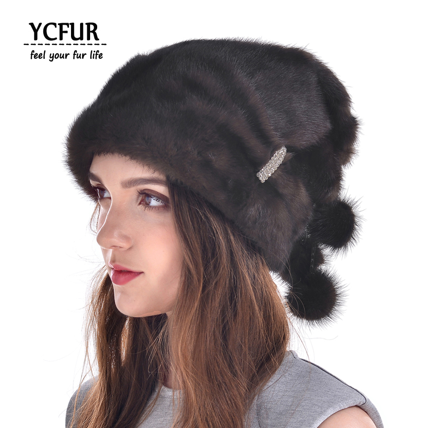 YCFUR Winter Warm Caps Hats For Women Genuine Mink Fur Cap With Fur Pom Beanies Skullies Winter Real Mink Hat Female hm015 real genuine mink fur hat winter hats for women whole piece mink fur hats