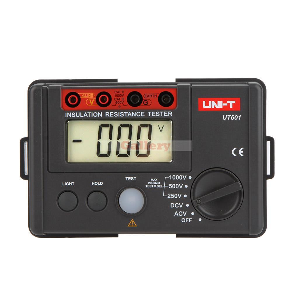 Uni T Ut501 Digital Insulation Resistance Testers Meter Megohmmeter Voltmeter Dvm 1000v 2000m W Lcd Backlight  insulation resistance tester megohmmeter voltmeter dvm with lcd backlight
