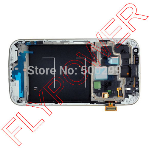 Lcd screen with blue touch screen digitizer +frame assembly for Samsung Galaxy S4 i9500 by free shipping; 100% warranty