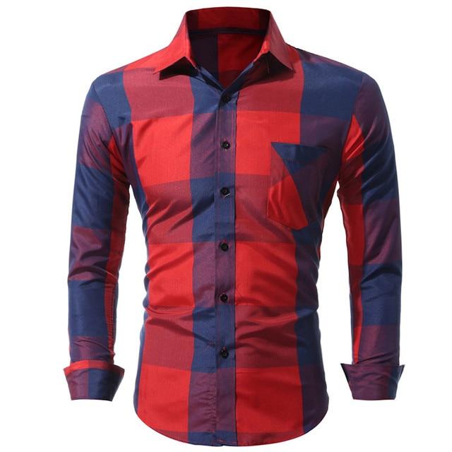 2017 New fashion brand of men's shirt long sleeve clothing soft cotton men's clothing leisure streetwear printed shirt