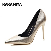 Sexy Scarpin Women Super Silver 4 34 Small Size Pumps Gold Wedding Shoes Unique High Heels Pointed Toe 2017 Spring Adult