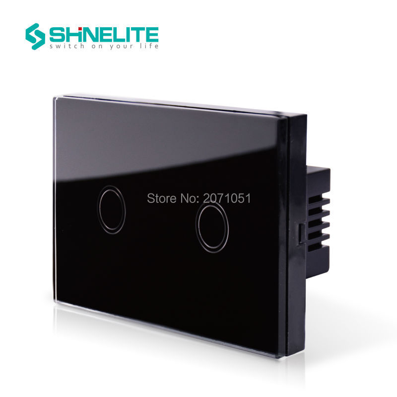 SHINELITE US AU Standard Wall Switch, Black Crystal Glass Panel, AC 110~250V Touch Sensor Light Switch  with LED Indicator us standard touch remote control light switch 3gang1way black pearl crystal glass wall switch with led indicator mg us01rc