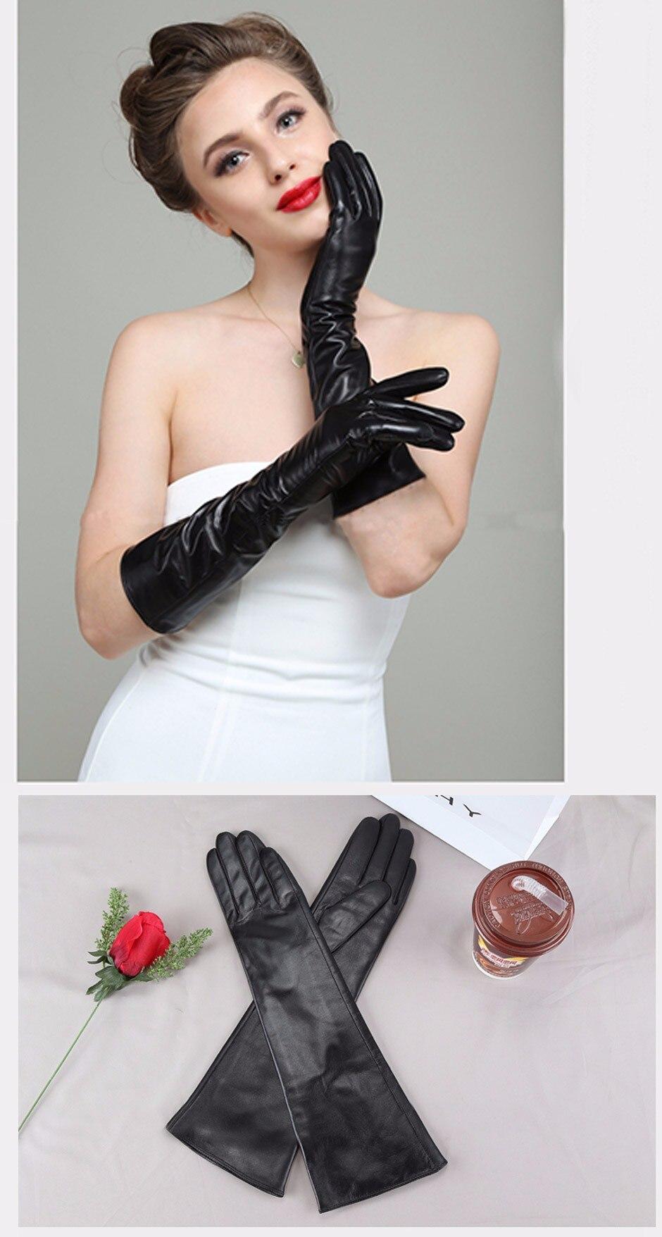 f2c2a6f0d34fa HTB1ufMmNpXXXXcaXVXXq6xXFXXXL New 2018 Women Fashion Gloves Black Long  Leather Gloves 40cm   50cm Women s Mittens Winter