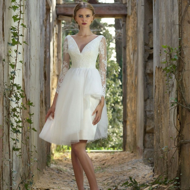 Vestido De Noiva Curto 2017 A Line V Neck Backless Short