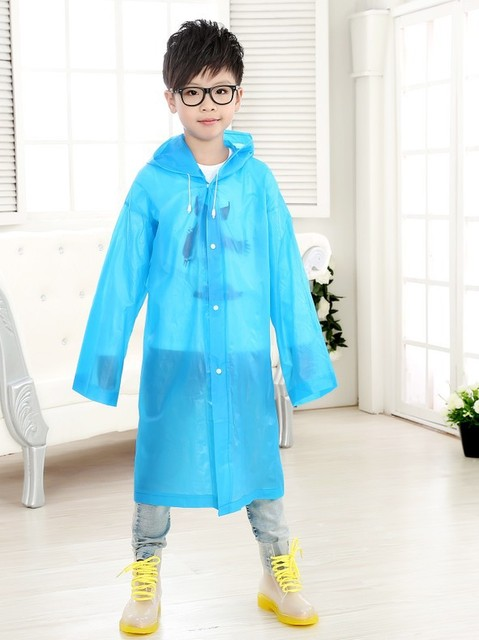 Chlidren EVA Environment Raincoat student Hooded Jacket Girl boy Rain coat Poncho Raincoat kids Long transparent Rainwear YY180