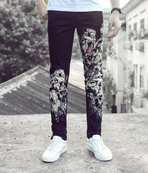 England black autumn straight printing feet pants man fashion true jeans men famous brand mens pants