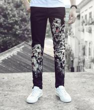 England black autumn straight printing feet pants man fashion true jeans men famous brand mens pants skinny jeans men trousers