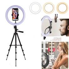 10 אינץ 26 CM USB טבעת אור LED מנורה עם Selfie מקל חצובה Smartphone מעגל אולפן וידאו חי טלפון בעל