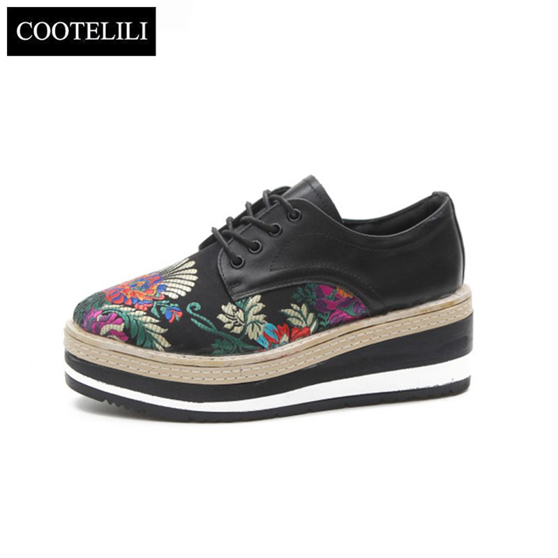 COOTELILI Autumn Women Creepers Platform Shoes Woman Casual Fashion High Heel Pumps Embroidered Lace-Up PU Leather Size 35-39 sportive women flower pattern embroidered white pu leather shoes lace up sneaker