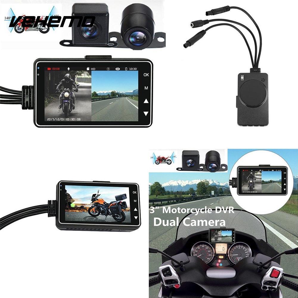 Enregistreur vidéo Voiture DVR 3 pouce LCD Écran Enregistreur de Conduite Moto Pleine Clarté Double Caméra Durable Automobile
