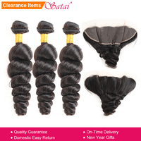 Satai Loose Wave Human Hair 3 Bundles With Frontal Natural Peruvian Hair Lace Frontal With Bundles Non Remy Hair Extension
