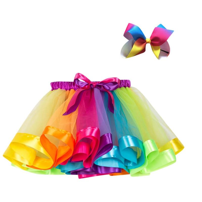 Child Girls Tutu Party Dance Ballet Kids Princess Costume Skirt+Bow Hairpin Set