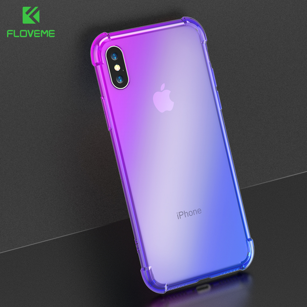FLOVEME Gradient Anti knock Case for iPhone X iPhone 7 8