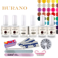 BURANO Free Shipping Nail kit Art Soak Off Uv Gel Polish Manicure Topcoat+basecoat +4color uv gel new 120colors