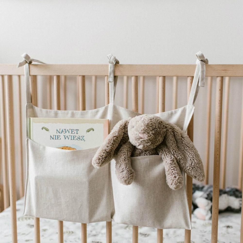 Baby Crib Pocket Nursery Organizer Solid Bedside Toys Hanging Storage Bag Descr Cot Bed Baby Cotton Crib Organizer Toy Diaper