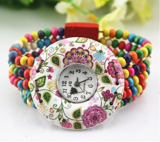 Gnova Platinum Small wrist women Big dial fashion mexican beach watch Coconut Shell Printed Flowers Bracelet