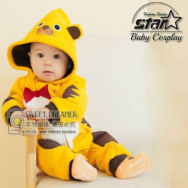 Best Quality 2016 Autumn Winter Newborn Baby Boys Girls Coats Tiger Animal Design Cute Plush Costume With Hooded Unisex Jumpsuit