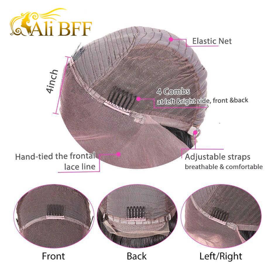 ALI BFF 13*4 koronki przodu Bob peruki brazylijski włosów ludzkich peruk dla czarnych kobiet naturalne kolor Remy ludzki włos perwersyjne kręcone krótkie koronki przodu peruki