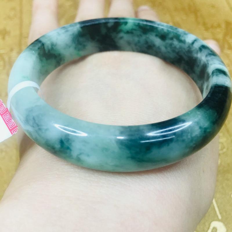 Send A certificate natural Jadeite bracelets carved deep blue 54-61mm two-color female bracelet jewelry giftsSend A certificate natural Jadeite bracelets carved deep blue 54-61mm two-color female bracelet jewelry gifts