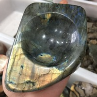 New arrivals 1pcs natural labradorite crystal ashtray reiki healing shaped rock for home decor hi fashion