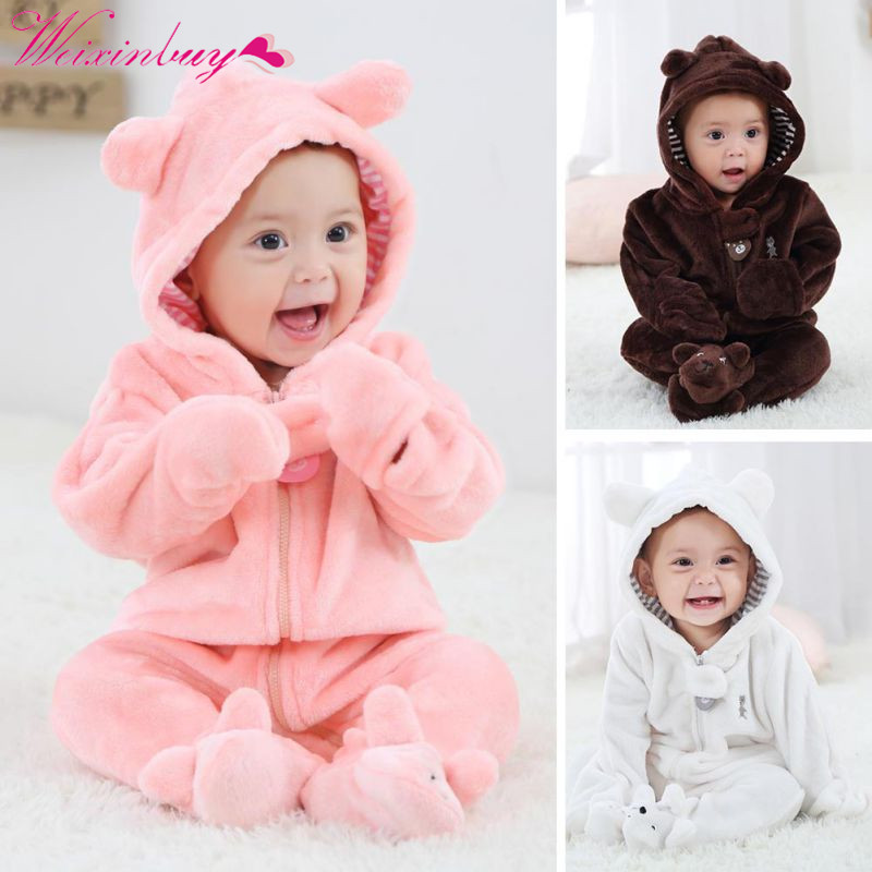 Newborn Baby Rompers Baby Girl Clothes Bear Coral Fleece Hoodies Jumpsuit Baby Girls Boys Rompers Clothing Brand Autumn Winter jeans woman autumn winter 2018 girl elegant denim rompers womens jumpsuit with hoodies plus size streetwear leotard high quality