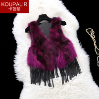 2017 New fashion autumn and winter natural raccoon dog fur vest women short fur vests waistcoats with tassel free shipping g9168