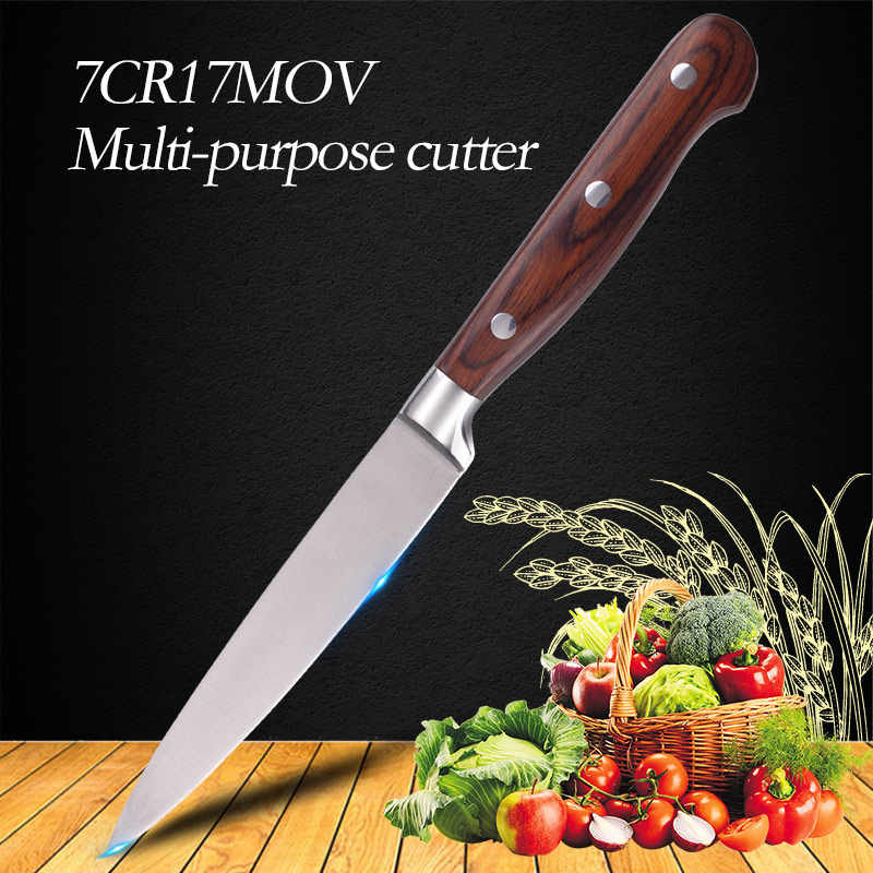 "5""inch 7CR17MOV Red Color Wood Handle Multi Function Utility Chef Steel Knives Kitchen Fruit Knives Sharp Cleaver Slicing Knife"