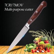 5 «дюймов 7CR17MOV красный цвет деревянной ручкой многофункциональные поварские стальные ножи кухонные Фруктовые Ножи острый нож для нарезания нож