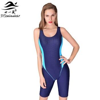 3a910c2f28de Yingfa una pieza competencia rodilla longitud impermeable cloro baja  resistencia mujeres traje de ...