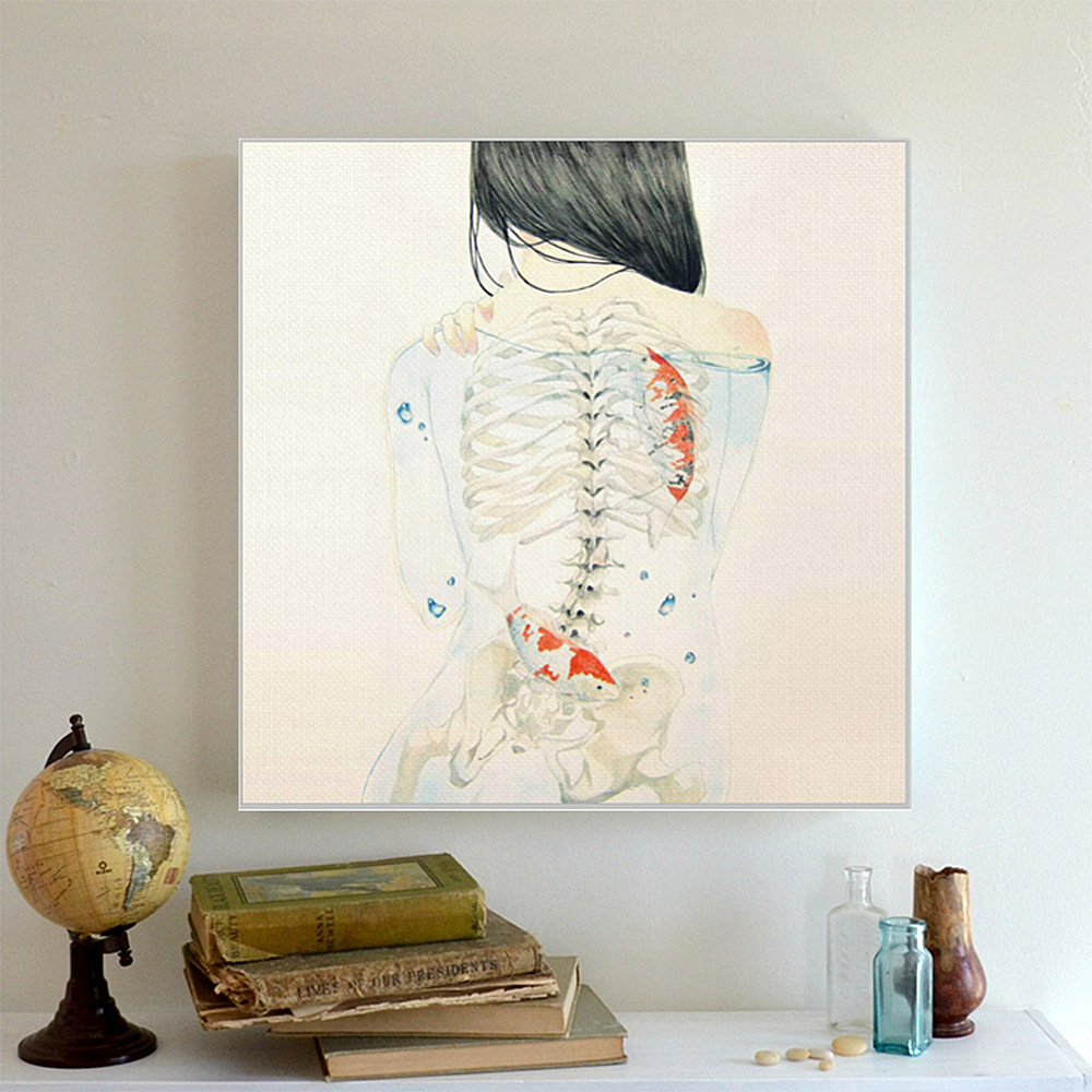 AZQSD Art Prints Poster Watercolor Japanese Sexy Naked Girl Hipster Fish Wall Picture Canvas Painting Bar Home Decor PP090