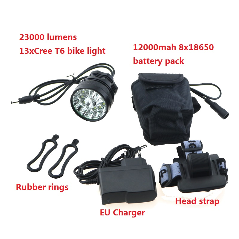 23000 lumen 13T6 Bicycle Headlight headLamp 13x Cree XM-L T6 Led Cycling Helmet Bike Light + 12000mah 18650 Battery Pack+Charger 2 in 1 20000lm 16 x xm l t6 led rechargeable bicycle light bike headlight headlamp head lamp 18650 battery pack charger