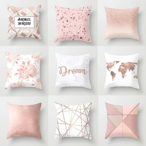 Letter Pink Printing Pillow Case Throw Cushion Cover Sofa Home Decor 45cm