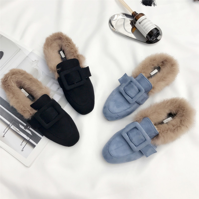 Genuine Leather Brand Designers Square Toe Flat Flock fur Slippers Woman Shoes Slip On Loafers Mules Flip Flops Big size 35-40 miulamiula brand designers 2018 fashion rabbit hair woman flat slides lady shoes furry slippers slip on loafers mules flip flops