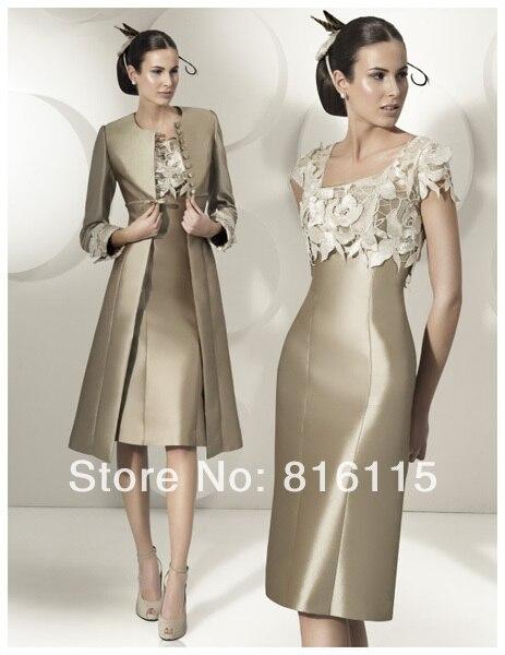 Новое поступление 2014 совок атласная аппликации колен мать невесты платья вечерние платья