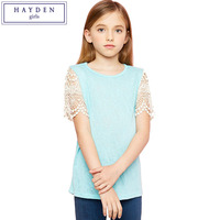 HAYDEN Girls Summer Tops For Teenage Girls Lace Sleeve Top Kids T Shirts Designs T Shirt