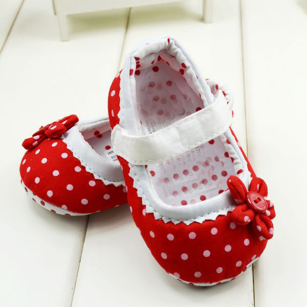 Dot Flower Baby Girls Shoes Soft Bottom Shoes Toddler Shoes Baby Shoes New