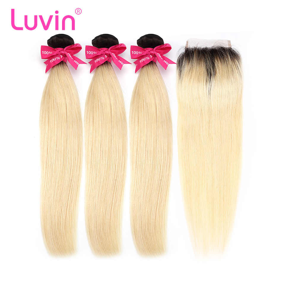 Luvin Ombre Blonde 3/4bundles with closure Brazilian Straight Hair 100% Remy Human Hair Weave Bundles Color T#1B/#613 Dark Roots