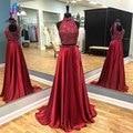 Brillante de Dos Piezas Rojo Baile Vestidos Largos 2017 de Raso Rebordear Cuello Alto y Espalda Abierta Mujer Del Partido de Tarde Vestido de la Foto Verdadera